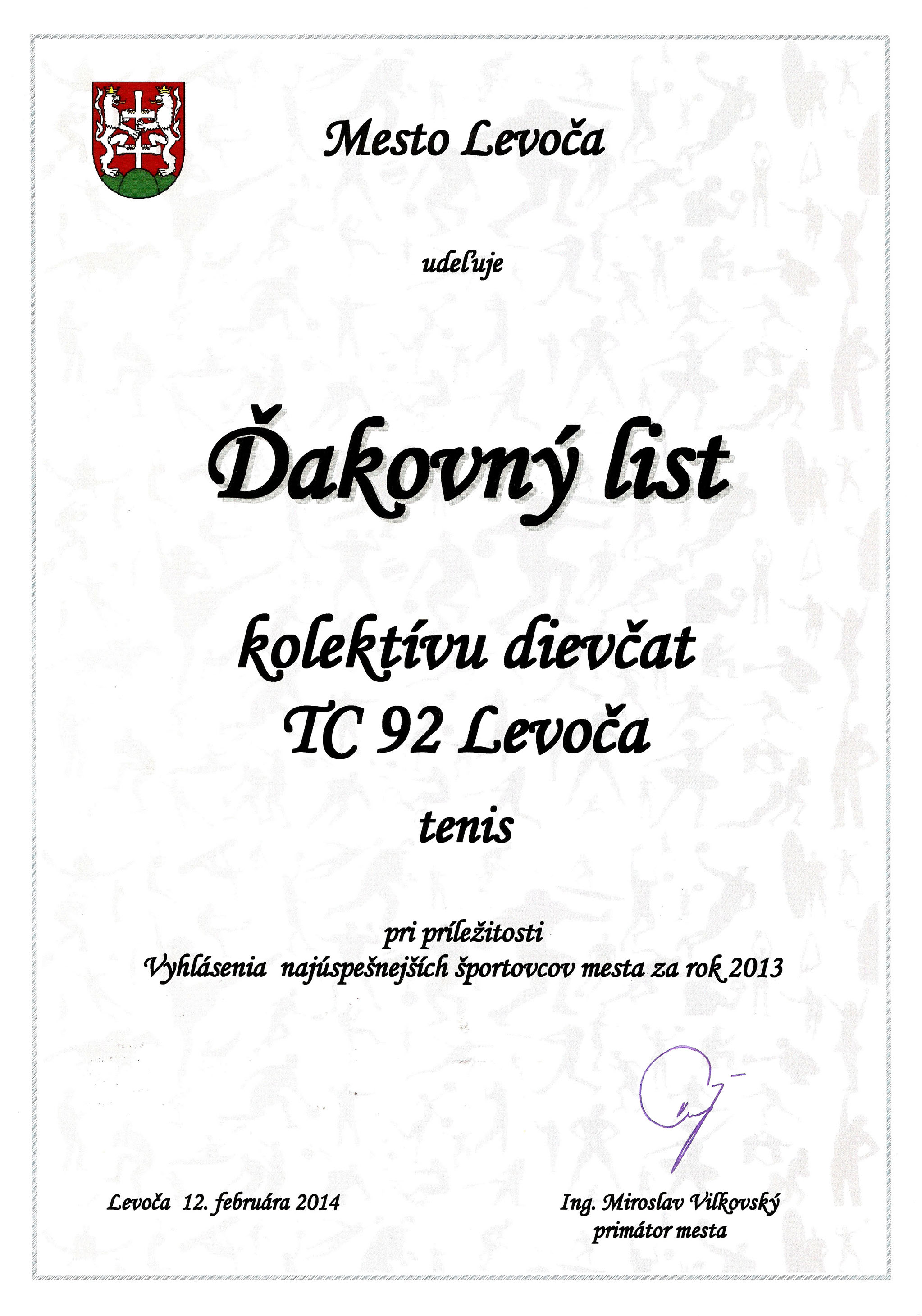 Ďakovný list - dievčatá do 10 r.